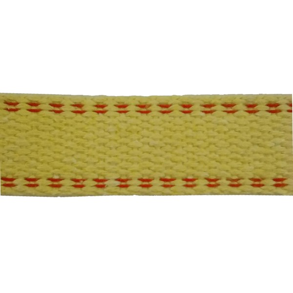 50mm Para Aramid Double Plain Weave Yellow Webbing with Red Stripe