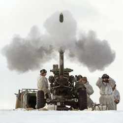 Soldiers of 29 Commando Regiment are pictured firing a 105mm Light Gun during a training Exercise in Norway.