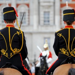 Soldiers of the Kings Troop Royal Horse Artillery form up on Horse Guards parade ground as they take over Queen\'s Life Guard duties fromn HM The Life Guards in 2010.